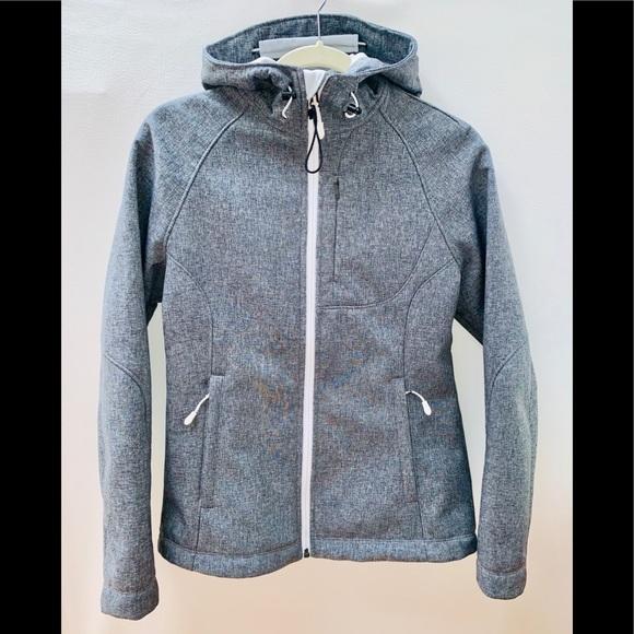 67682b50f22 Women's Soft Shell Gray Hooded Fleece Lined Jacket